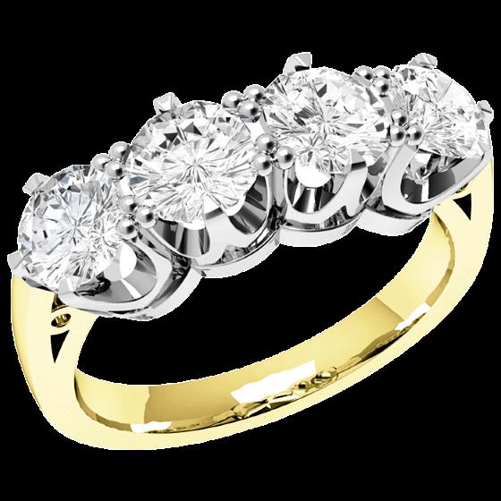 Halb Eternity Ring für Dame in 18kt Gelbgold und Weißgold mit 4 runden Diamanten in 6er Krappenfassung-img1