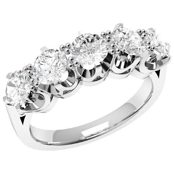Inel Semi Eternity Dama Aur Alb, 18kt cu 5 Diamante Rotunde in Setare 6-Gheare-img1