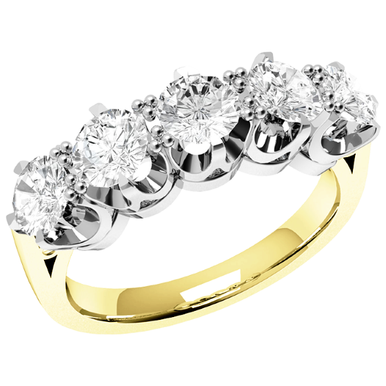 Halb Eternity Ring/Cocktail Ring mit Diamanten für Dame in 18kt Gelbgold und Weißgold mit 5 runden Diamanten in 6er Krappenfassung-img1