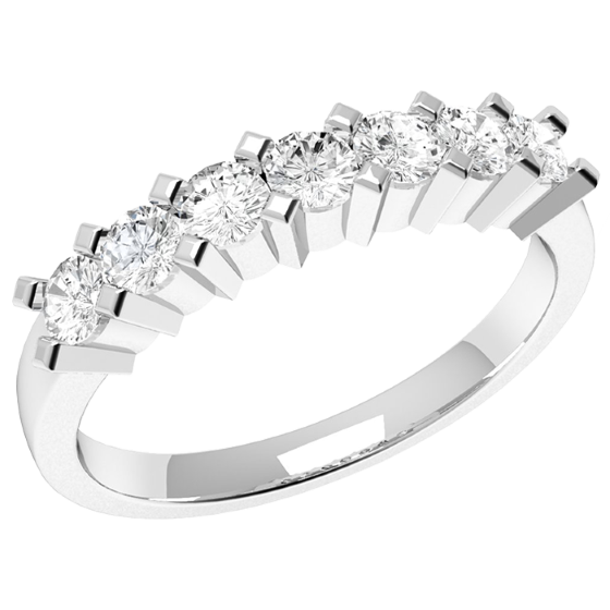 Inel Semi Eternity Dama Aur Alb, 18kt cu 7 Diamante Rotunde in Setare Gheare-img1
