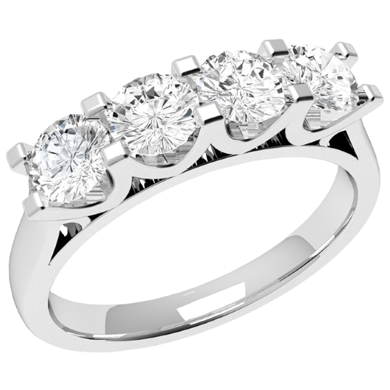 Inel Semi Eternity Dama Aur Alb, 18kt cu 4 Diamante Rotunde in Setare Gheare in forma U-img1