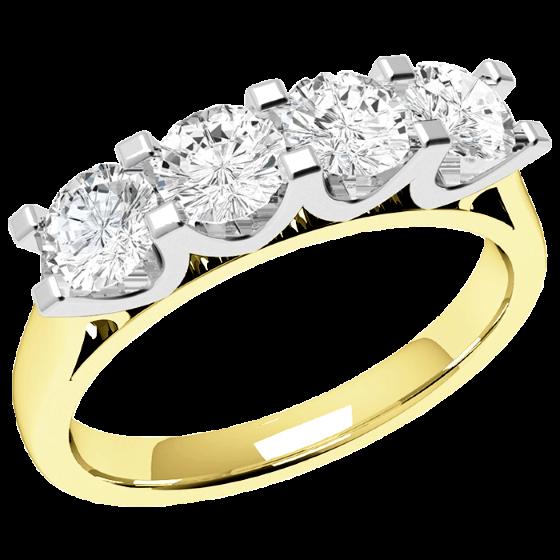 Halb Eternity Ring für Dame in 18kt Gelbgold und Weißgold mit 4 runden Diamanten in Krappenfassung mit U-förmiger Seitenansicht-img1