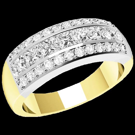 Halb Eternity Ring/Cocktail Ring mit Diamanten für Dame in 18kt Gelbgold und Weißgold mit 7 Princess Schliff Diamanten und 24 runden Diamanten-img1