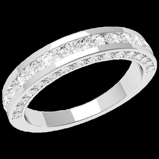 Inel Semi Eternity Dama Aur Alb, 18kt cu Diamante Rotunde in Centru si pe Laterale-img1