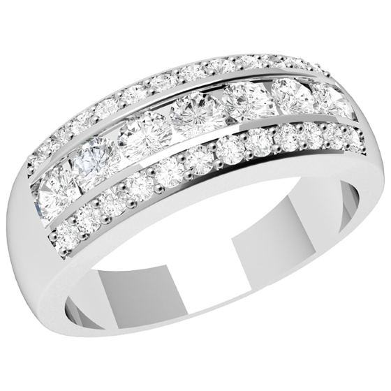 Inel Semi Eternity Dama Platina cu Diamante Rotunde in Setare Tip Canal & Gheare-img1