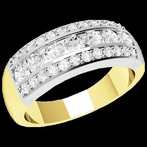 Halb Eternity Ring/Cocktail Ring mit Diamanten für Dame in 18kt Gelbgold und Weißgold mit runden Diamanten in der Mitte umgeben von kleinen runden Diamanten-img1