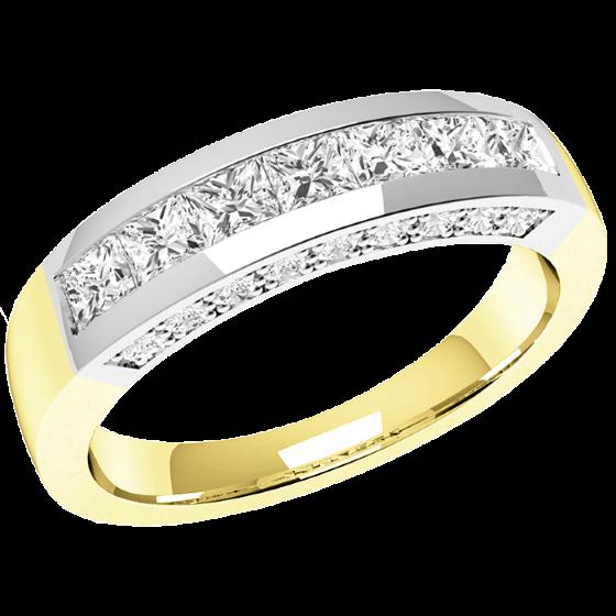 Halb Eternity Ring für Dame in 18kt Gelbgold und Weißgold mit 7 Princess Schliff Diamanten und runden Diamanten auf beiden Seiten-img1