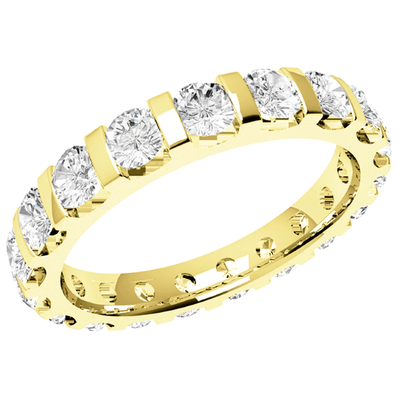 Voll Eternity Ring/Ehering mit Diamanten für Dame in 18kt Gelbgold mit runden Brillanten in Balkenfassung-img1