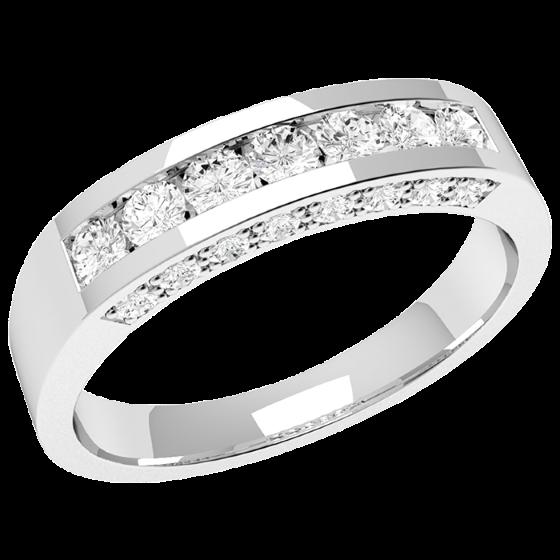 Halb Eternity Ring für Dame in Platin mit 7 runden Diamanten und kleinen Diamanten auf beiden Seiten-img1
