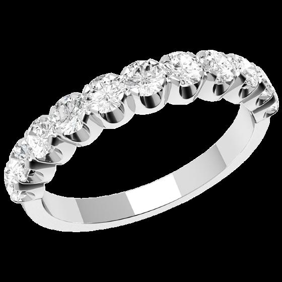 Halb Eternity Ring für Dame in 9kt Weißgold mit elf runden Brillanten in Krappenfassung-img1