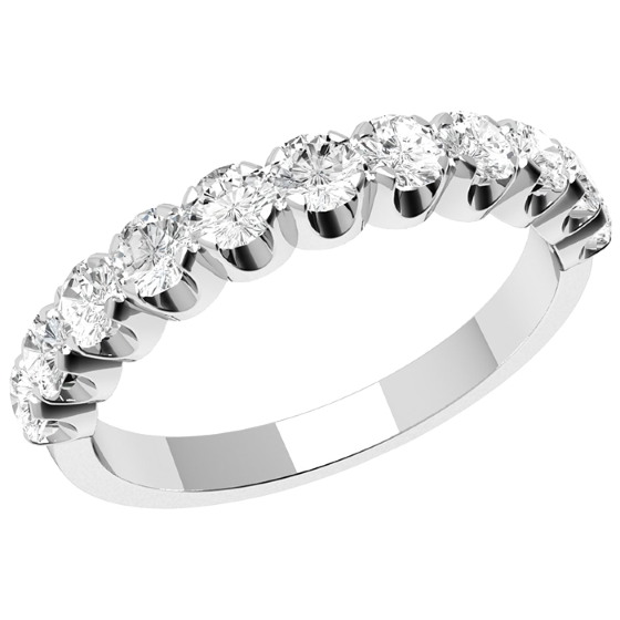 Inel Semi Eternity Dama Aur Alb, 18kt cu 11 Diamante Rotund Briliant-img1