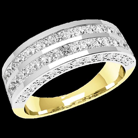 Halb Eternity Ring für Dame in 18kt Gelbgold und Weißgold mit Princess Schliff Diamanten in 2 Reihen und runden Brillanten auf den Seiten-img1
