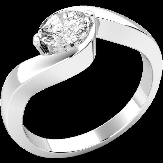 Solitär Verlobungsring für Dame in 18kt Weißgold mit rundem Diamanten-img1