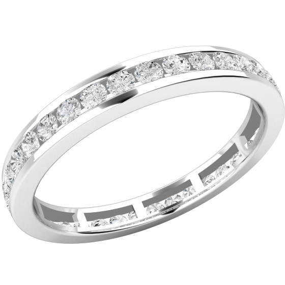 Verigheta cu Diamant/Inel Eternity Dama Aur Alb 18kt cu Diamante Forma Rotund Briliant Setate in Canal-img1