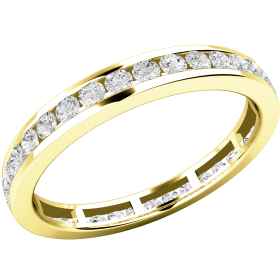 Full Eternity Ring/Diamond set wedding ring for women in 18ct yellow gold with round brilliant cut diamonds-img1