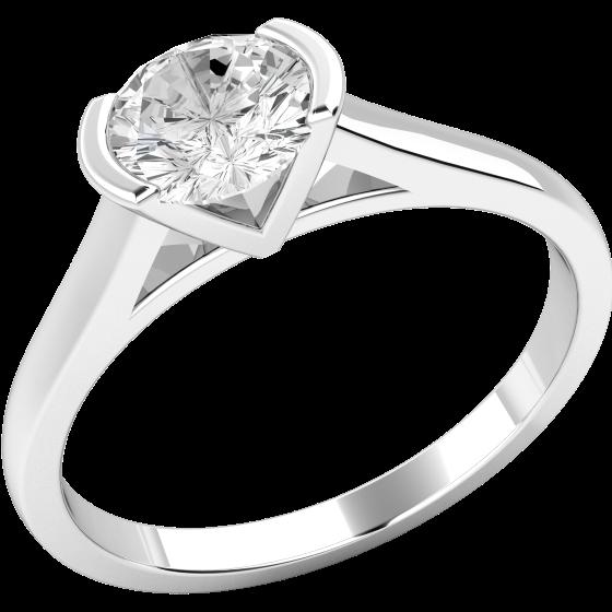 Solitär Verlobungsring für Dame in Platin mit einem runden Brillantschliff Diamanten in Balkenfassung-img1