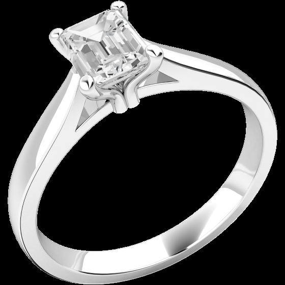 Solitär Verlobungsring für Dame in Platin mit einem Smaragd-Schliff Diamanten-img1