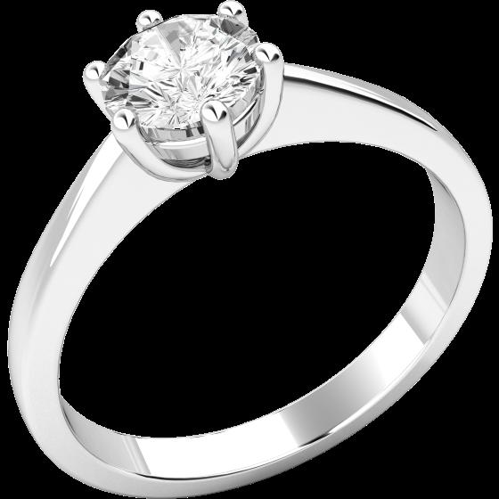 Solitär Verlobungsring für Dame in 9kt Weißgold mit einem runden Brillantschliff Diamanten in 6er Krappenfassung-img1