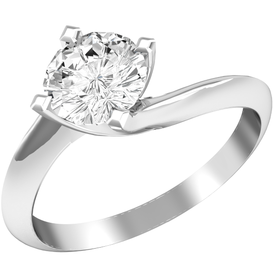 Single Stone Twist Engagement Ring For Women In Palladium