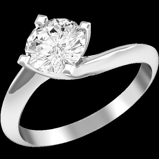 Solitär Twist Verlobungsring für Dame in 18kt Weißgold mit einem runden Diamanten in Krappenfassung-img1