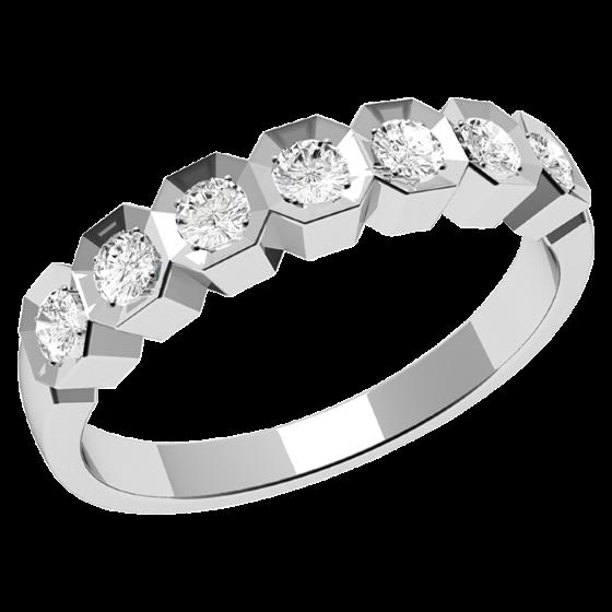 Halb Eternity Ring für Dame in 9kt Weißgold mit Sieben runden Brillanten-img1