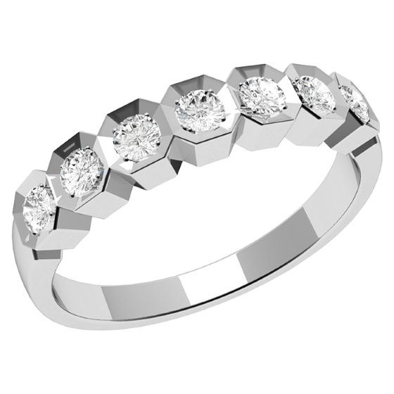 Inel semi eternity Dama Aur Alb, 18kt cu 7 Diamante Rotunde-img1