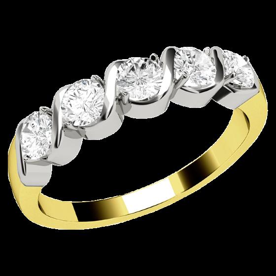 Halb Eternity Ring für Dame in 18kt Gelbgold und Weißgold mit 5 runden Brillant Schliff Diamanten in Krappenfassung-img1