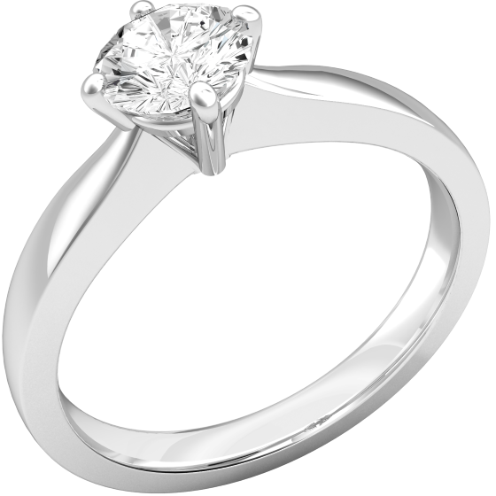 Single Stone Engagement Ring for Women in 9ct White Gold with a Round Brilliant Cut Diamond in a Four Claw Setting-img1