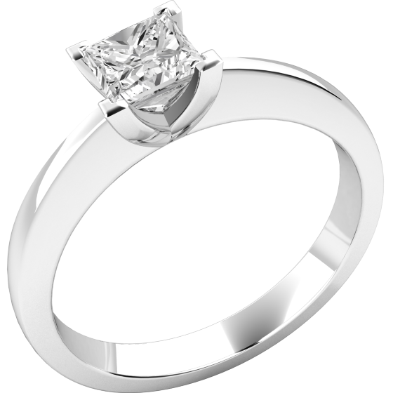 de303464dadf7 Single Stone Engagement Ring for Women in 18ct White Gold with a Princess  Cut Diamond in a 4-claw Setting