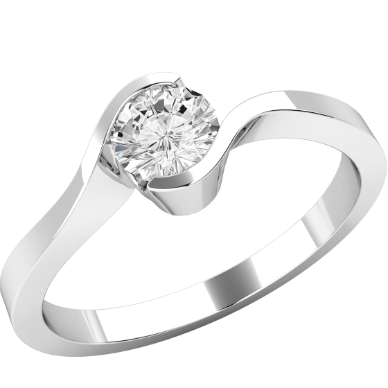 Single Stone Twist Engagement Ring for Women in Palladium with a Round Diamond in a Part Rub-over Setting-img1