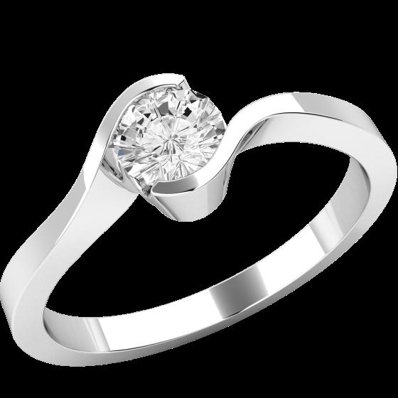Solitär Verlobungsring für Dame in Platin mit einem runden Diamanten in Semi-Zargenfassung-img1