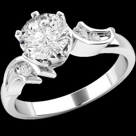 Solitär Verlobungsring mit Schultern für Dame in 9kt Weißgold mit einem runden Diamanten in der Mitter und runden Diamanten in den Schultern-img1