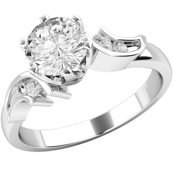 Single Stone Twist Engagement Ring With Shoulders For Women In 18ct White Gold With A Round Diamond In The Centre And Round Diamonds In The Shoulders