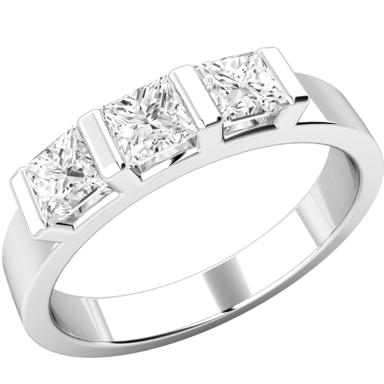 Three Stone Ring/Engagement Ring for women in 18ct white gold with 3 princess cut diamonds in a bar setting-img1
