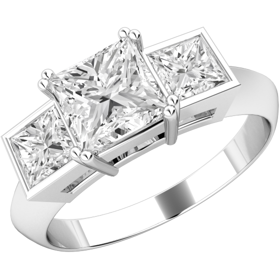 Three Stone Ring for women in platinum with 3 princess cut diamonds in claw & rub-over setting-img1