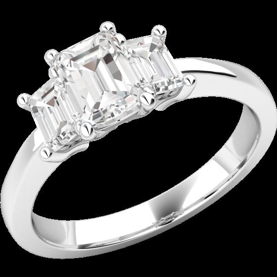 Drei-Steine Ring/Verlobungsring für Dame in Platin mit 3 Smaragd Schliff Diamanten-img1