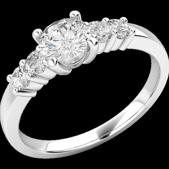 Solitär Verlobungsring mit Schultern/Multi-Stein Verlobungsring für Dame in 18kt Weißgold mit runden Brillanten-img1