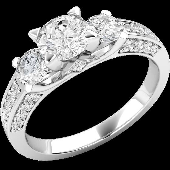 Drei-Steine Ring Verlobungsring für Dame in Platin mit 3 zentralen runden Brillanten und Schultern mit runden Brillantschliff Diamanten-img1