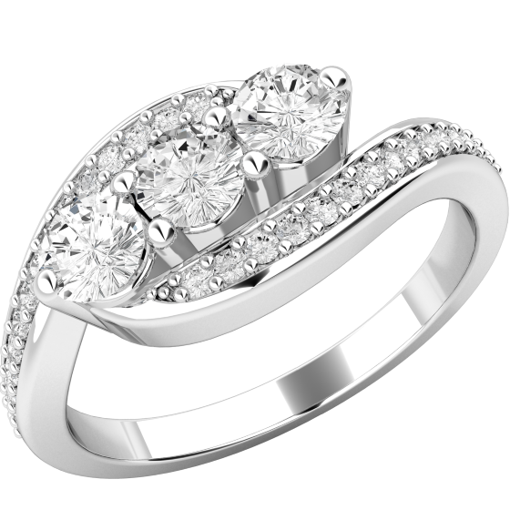 Three Stone Ring with Shoulders/Multi Stone Engagement Ring for women in platinum with three round brilliant cut diamonds in the centre and round brilliant cut diamond shoulders-img1