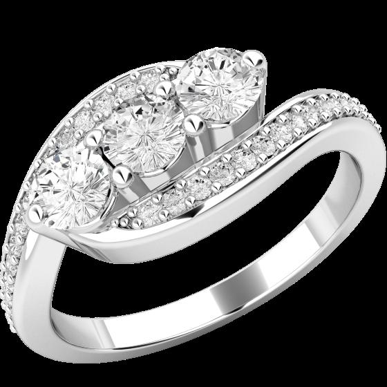 Drei-Steine Ring/Verlobungsring für Dame in 18kt Weißgold mit 3 zentralen runden Brillanten und Schultern mit runden Brillanten auf Lager-img1