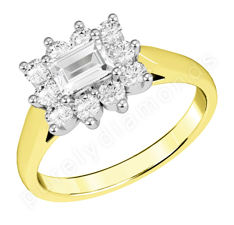 Inel Cocktail/Inel de Logodna cu Diamante Dama Aur Galben si Aur Alb 18kt cu un Diamant Forma Smarald si Diamante Rotunde Briliant-img1