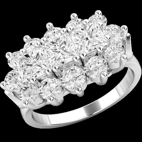 Inel Cocktail/Inel de Logodna cu Diamante Dama Aur Alb 18kt cu 3 Diamante Princess si Diamante Rotund Briliant-img1