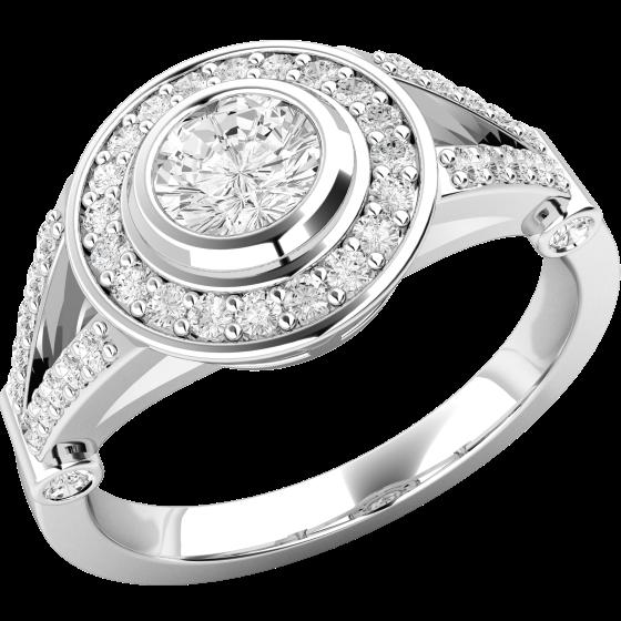Inel de Logodna Solitaire cu Diamante Mici pe Lateral Dama Aur Alb 18kt cu Diamant Central Rotund Briliant in Setare Rub Over si Diamante Mici Rotund Briliant in Jur-img1