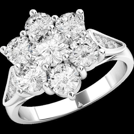 Cocktail Ring mit Diamanten/Verlobungsring im Cluster Stil für Dame in 18kt Weißgold mit runden Brillanten in Blumenform und auf den Schultern-img1