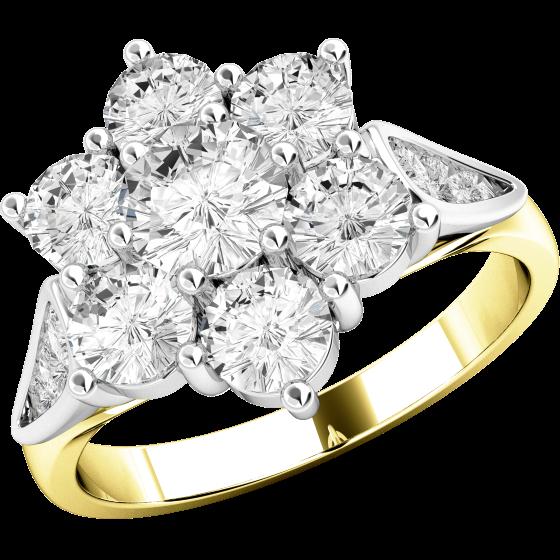 Inel Cocktail Dama Aur Alb & Aur Galben, 18kt cu Diamante Rotund Briliant formand o floare si Diamante pe margini-img1