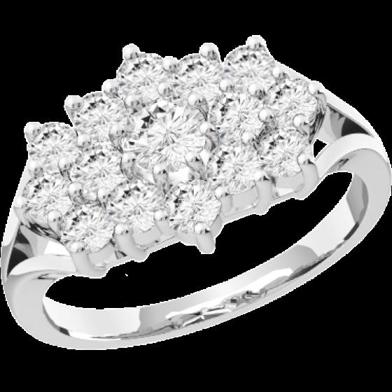 Cocktail Ring mit Diamanten für Dame in Platin mit runden Brillant Schliff Diamanten-img1