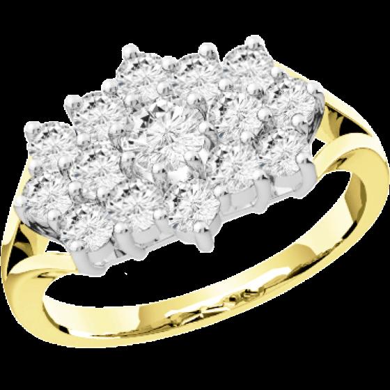 Cocktail Ring mit Diamanten für Dame in 18kt Gelbgold und Weißgold mit runden Brillant Schliff Diamanten-img1