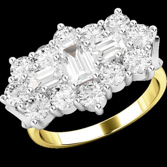 Cocktail Ring mit Diamanten/Verlobungsring im Cluster Stil für Dame in 18kt Gelbgold und Weißgold mit Baguette und runden Brillant Schliff Diamanten Cluster Ring-img1