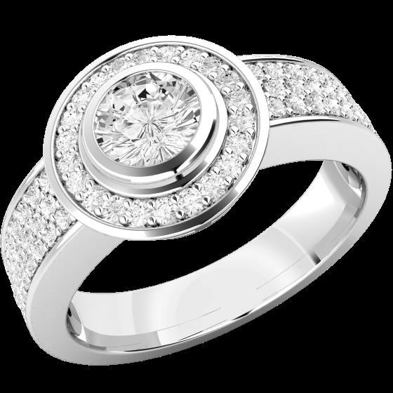 Cocktail Ring mit Diamanten/Verlobungsring im Cluster Stil für Dame in Platin mit einem zentralen Brillanten in Zargenfassung umgeben von kleinen Brillanten-img1