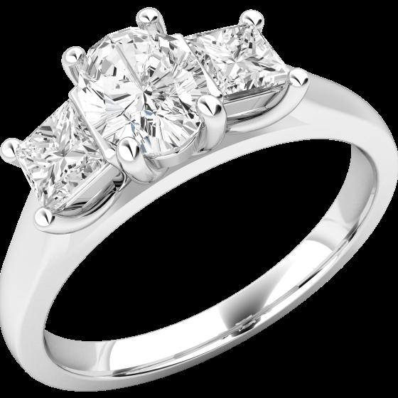 Inel Cocktail cu Diamante Dama Aur Alb 18kt cu un Diamant Central in Setare Rub-Over si Diamante Mici in Setare Gheare In Stoc-img1
